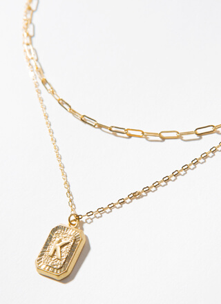 The Letter K Layered Charm Necklace
