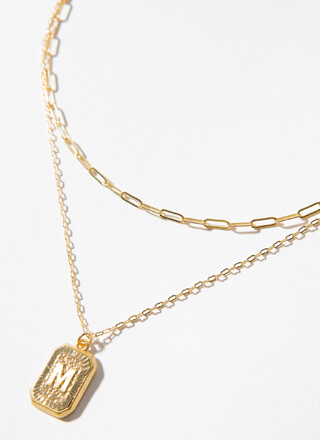 The Letter M Layered Charm Necklace