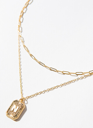 The Letter N Layered Charm Necklace