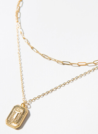 The Letter T Layered Charm Necklace