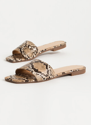 Wild Animal Faux Snake Slide Sandals