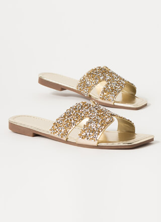Confetti Glittery Cut-Out Slide Sandals