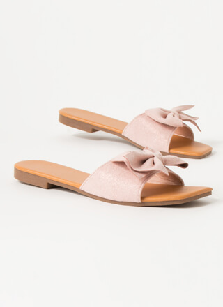 You Bow Girl Faux Suede Slide Sandals