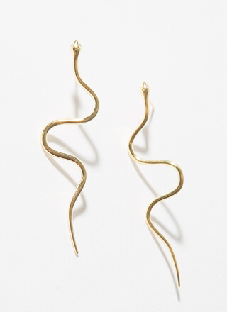 Slithering Snake Gold-Dipped Earrings
