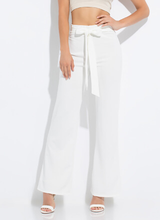 It's A Tie Bow-Front Wide-Leg Pants