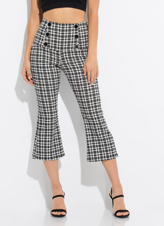 Houndstooth Flare Cropped Buttoned Pants