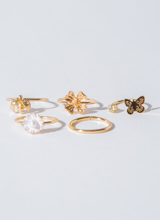 Bees And Butterflies Flower Ring Set