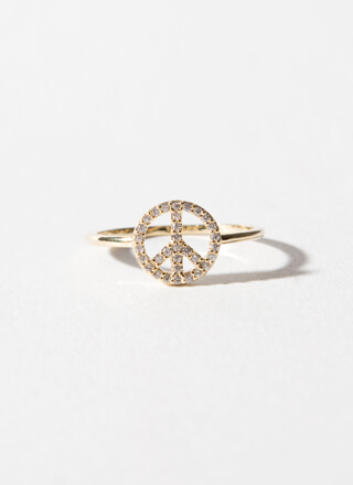 Love And Peace Sign Jeweled Ring