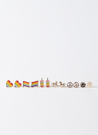 Love Peace And Rainbows Earring Set