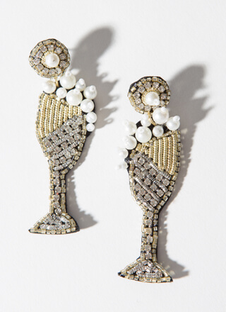 Bubbly Beaded Champagne Glass Earrings