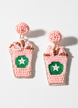 Strawberry Frappe Beaded Cup Earrings
