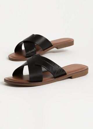 You Cross Me Scaled Strap Slide Sandals