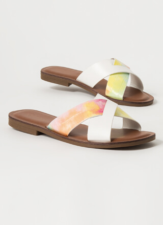 You Cross Me Dyed Strap Slide Sandals