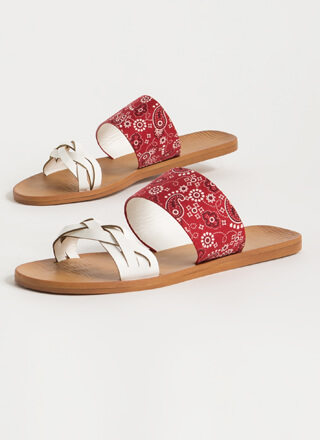 Print-cess Braided Strap Slide Sandals