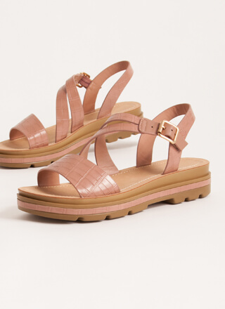 Outing Strappy Reptile Platform Sandals
