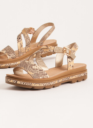 Outing Strappy Snake Platform Sandals
