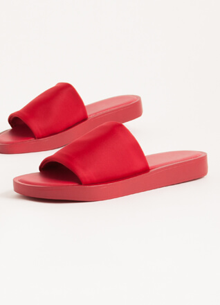 Slipping Out Solid Lycra Slide Sandals