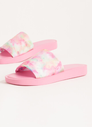 Slipping Out Tie-Dye Lycra Slide Sandals