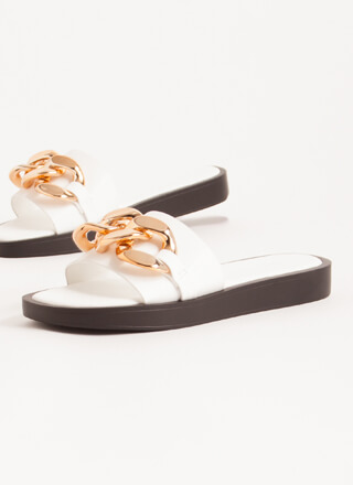 Linking Of Me Chain Accent Slide Sandals