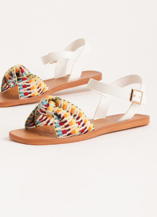 Boho Babe Knotted Woven Strap Sandals