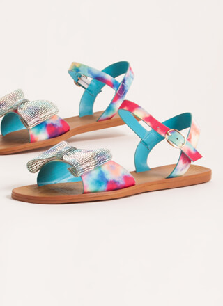 Colorful Girl Printed Jewel Bow Sandals