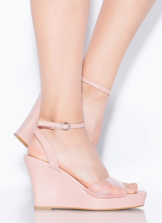 Clear Out Strappy Faux Leather Wedges