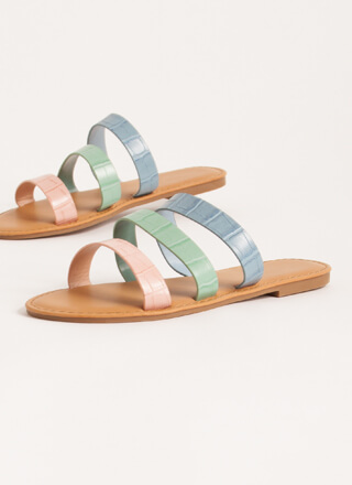 It Comes In Threes Strappy Slide Sandals