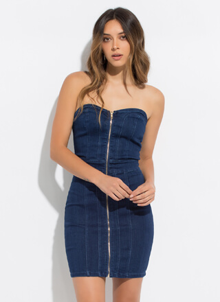Denim Sweetheart Zip-Up Tube Minidress
