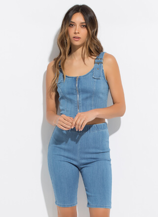 Play On Zip-Up Denim Top And Shorts Set