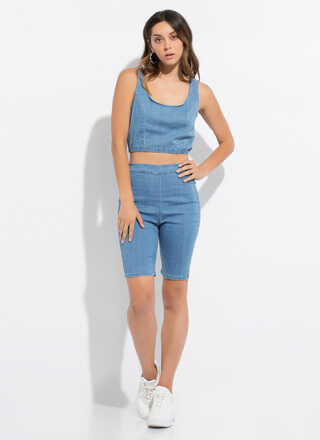 Denim Day Out Crop Top And Shorts Set