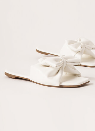 Bow Flex Faux Leather Slide Sandals