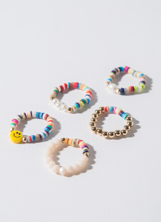 Color Me Happy Stretchy Beaded Ring Set