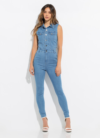 1 And Done Button-Up Denim Jumpsuit