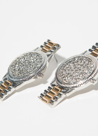 Just In Time Jeweled Watch Earrings