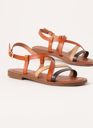 Strappy Thoughts Tri-Color Sandals