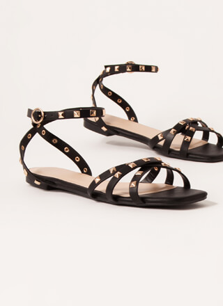 Edgy Side Strappy Studded Sandals
