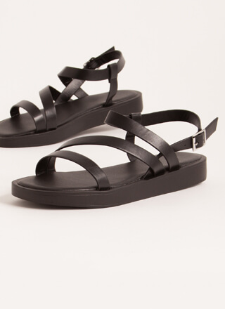 Strappy Coincidence Faux Leather Sandals