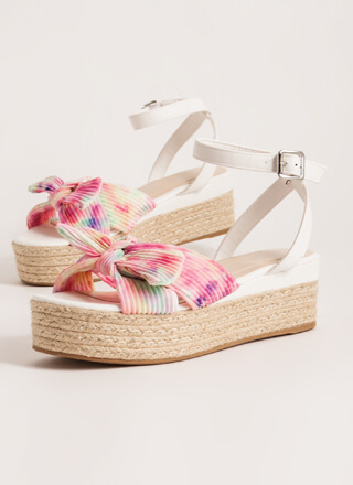 Braids And Bows Tie-Dye Wedge Sandals