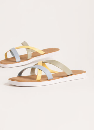 Every Which Way Tri-Color Slide Sandals