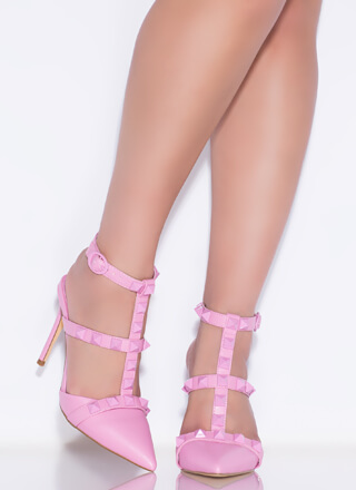 Extra Edge Pointy Studded Caged Heels
