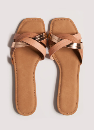 Intertwined Tri-Color Slide Sandals