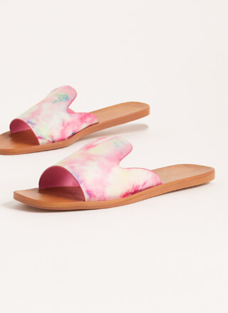 Tongue Out Notched Tie-Dye Slide Sandals