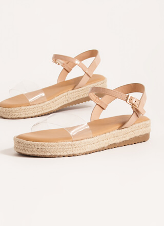 Stepping Out Braided Clear Strap Sandals