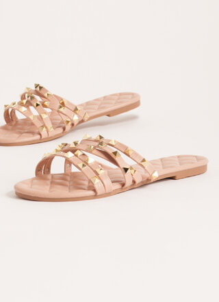 Hot Studs Quilted Strappy Sandals