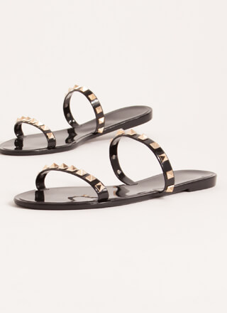 Get The Edge Jelly Studded Strap Sandals