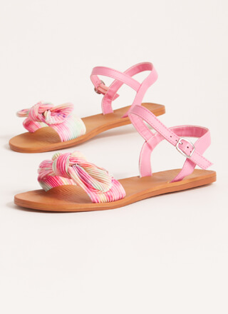 Bow You Knotted Pleated Tie-Dye Sandals