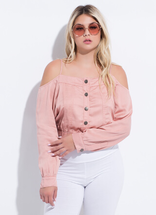Give Me The Cold-Shoulder Button-Up Top