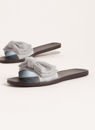 Bow My Own Way Faux Suede Slide Sandals