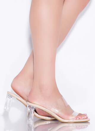 Clear As Day Faux Leather Lucite Heels