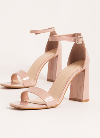 Just Right Chunky Faux Patent Heels